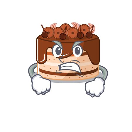 Chocolate cake cartoon character style having angry face