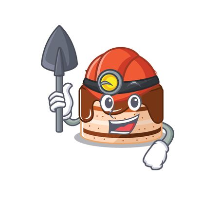Cool clever Miner chocolate cake cartoon character design. Vector illustration