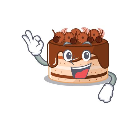 A funny picture of chocolate cake making an Okay gesture 矢量图像