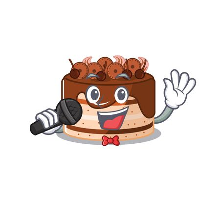 Happy chocolate cake singing on a microphone