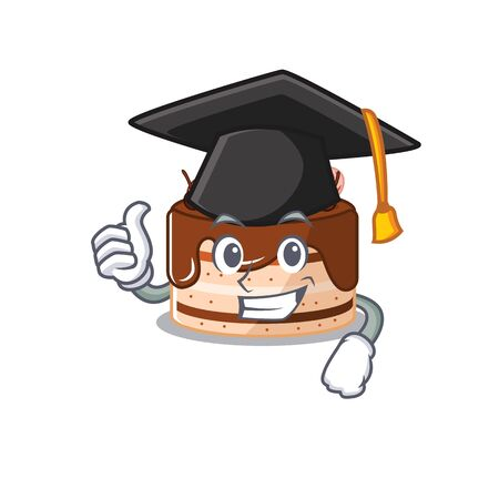 happy and proud of chocolate cake wearing a black Graduation hat. Vector illustration