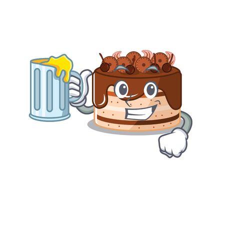 Smiley chocolate cake mascot design with a big glass