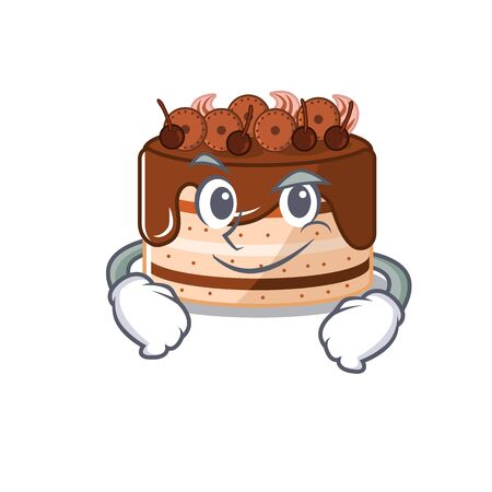 Cool chocolate cake mascot character with Smirking face. Vector illustration Illustration