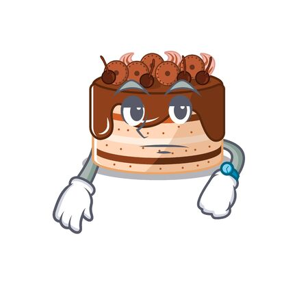 cartoon character design of chocolate cake on a waiting gesture