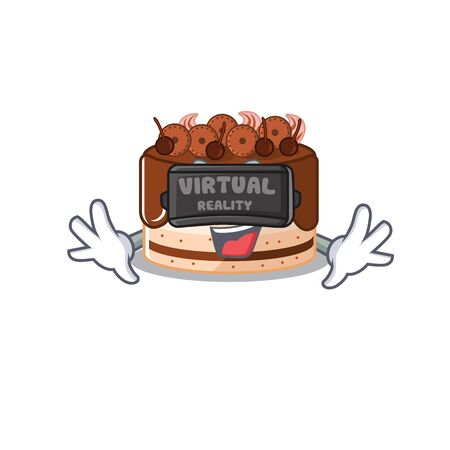 A Picture of chocolate cake character wearing Virtual reality headset. Vector illustration Illustration