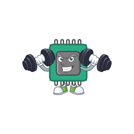 RAM mascot icon on fitness exercise trying barbells. Vector illustration Ilustrace