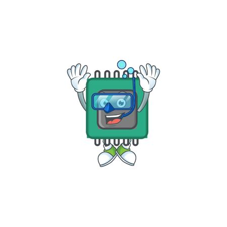 A mascot icon of RAM wearing Diving glasses. Vector illustration Çizim