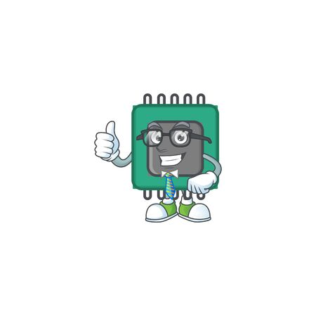 RAM cartoon character successful Businessman wearing glasses. Vector illustration