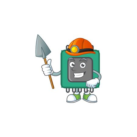 Cool clever Miner RAM cartoon character design. Vector illustration