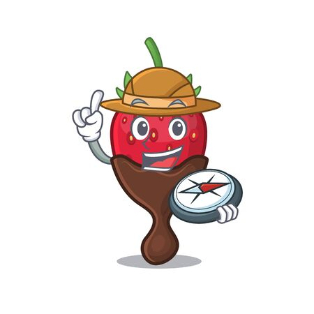 Chocolate strawberry experienced Explorer using a compass. Vector illustration