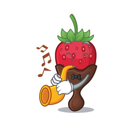 mascot design concept of chocolate strawberry playing a trumpet