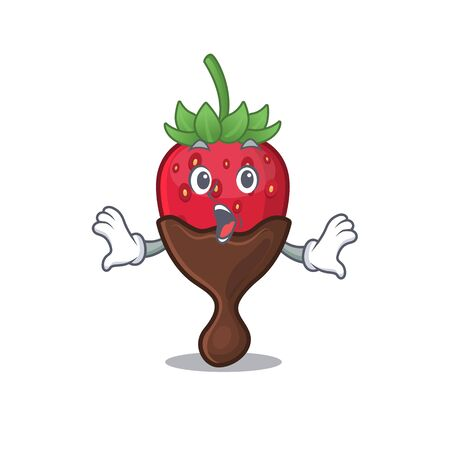 Chocolate strawberry mascot design concept with a surprised gesture. Vector illustration
