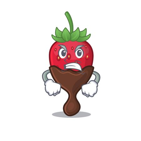Chocolate strawberry cartoon character style having angry face