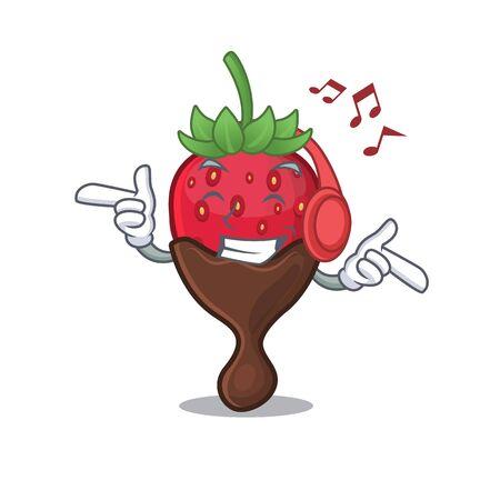 Listening music chocolate strawberry cartoon character concept. Vector illustration