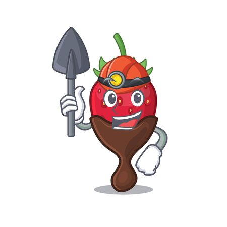 Cool clever Miner chocolate strawberry cartoon character design