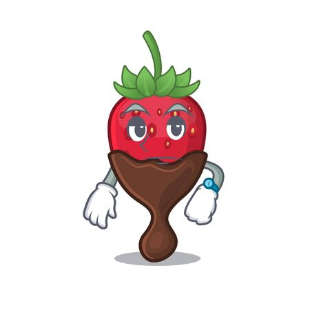 cartoon character design of chocolate strawberry on a waiting gesture Banco de Imagens - 140113176