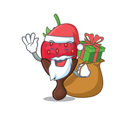 Santa chocolate strawberry Cartoon character design having box of gifts