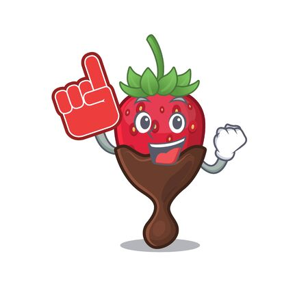 A picture of chocolate strawberry mascot cartoon design holding a Foam finger