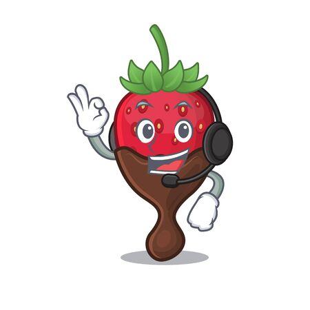 Happy chocolate strawberry mascot design style wearing headphone