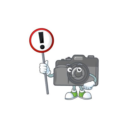 Cartoon character design of digital camera rise up a broad. Vector illustration 向量圖像