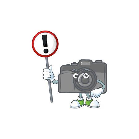 Cartoon character design of digital camera rise up a broad. Vector illustration Illustration
