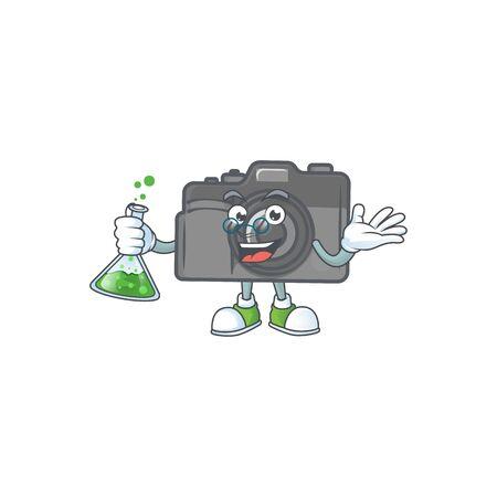 A genius Professor digital camera cartoon character with glass tube. Vector illustration