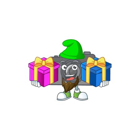 A charming digital camera cartoon mascot style with two boxes of gifts. Vector illustration
