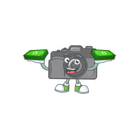 rich and famous digital camera cartoon character with money on hands. Vector illustration