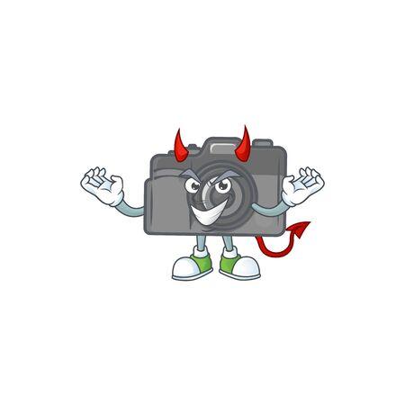 A cruel devil digital camera Cartoon character design. Vector illustration Иллюстрация