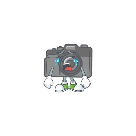 A crying digital camera mascot design style. Vector illustration Vectores