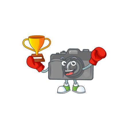 Super cool Boxing winner of digital camera in mascot cartoon design. Vector illustration