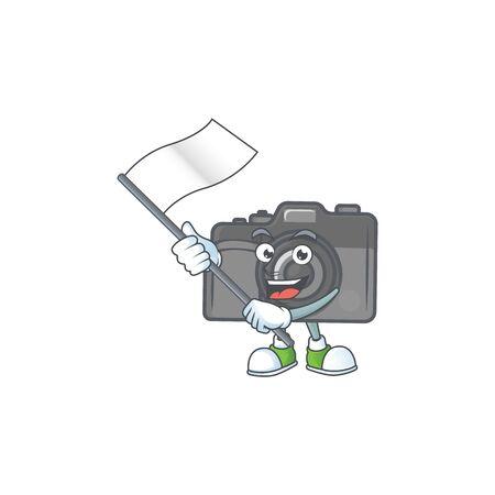 Funny digital camera cartoon character design with a flag. Vector illustration