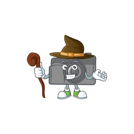 A cute digital camera performed as a witch on the stage. Vector illustration