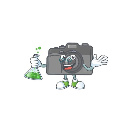 A genius Professor digital camera cartoon character with glass tube
