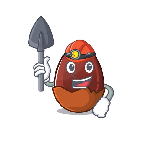 Cool clever Miner chocolate egg cartoon character design. Vector illustration Ilustrace