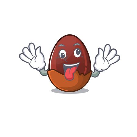 Cute sneaky chocolate egg Cartoon character with a crazy face