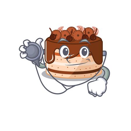 A mascot picture of chocolate cake cartoon as a Doctor with tools