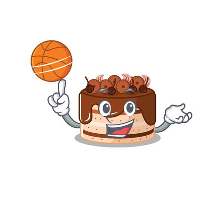 A mascot picture of chocolate cake cartoon character playing basketball 矢量图像