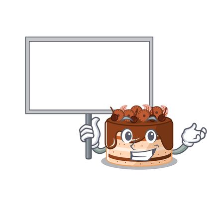 A cute picture of chocolate cake mascot design with a board Illustration