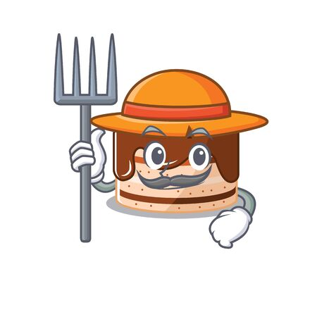 Happy Farmer chocolate cake cartoon picture with hat and tools