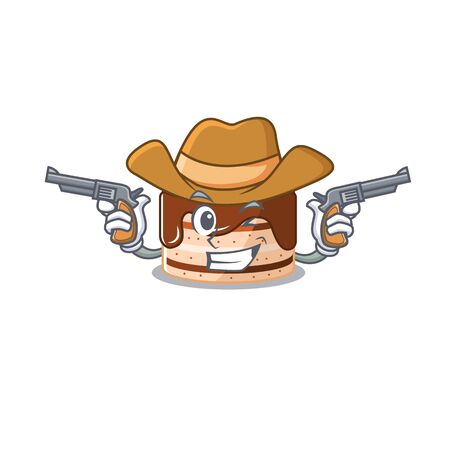 Chocolate cake Cowboy cartoon concept having guns Ilustrace