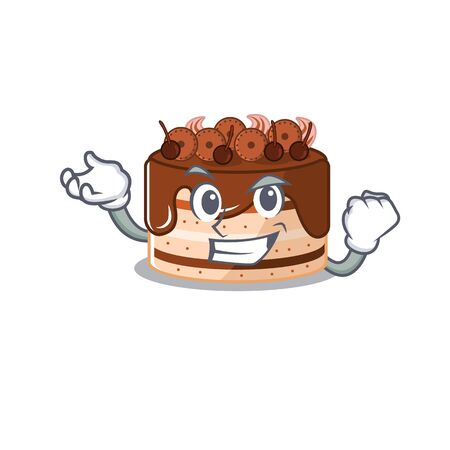 cool confident Successful chocolate cake cartoon character style
