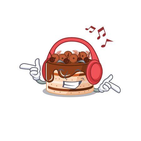Listening music chocolate cake cartoon character concept Illustration