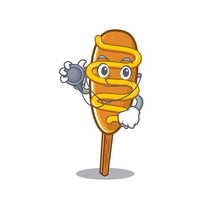 A mascot picture of corn dog cartoon as a Doctor with tools