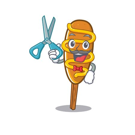 Cartoon character of Sporty Barber corn dog design style