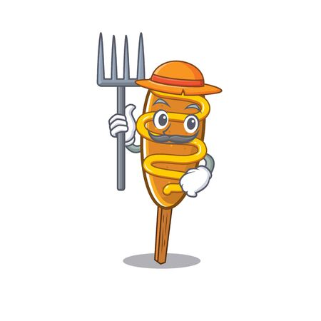 Happy Farmer corn dog cartoon picture with hat and tools
