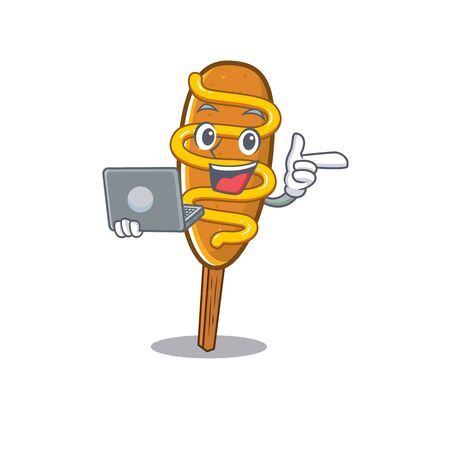 Cool character of corn dog working with laptop