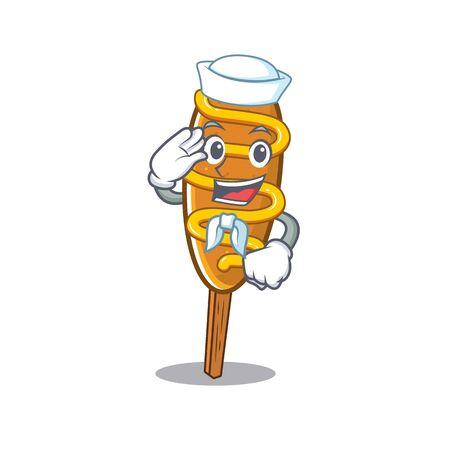 Corn dog cartoon concept Sailor wearing hat 向量圖像