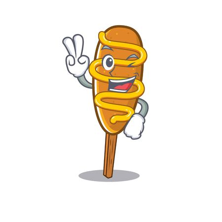 mascot of funny corn dog cartoon Character with two fingers 向量圖像