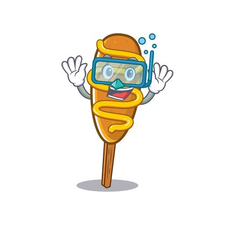 cartoon character of corn dog wearing Diving glasses